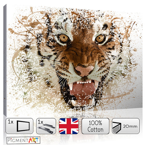 Large Brown Tiger Abstract Animal Canvas - canvas wall art prints uk