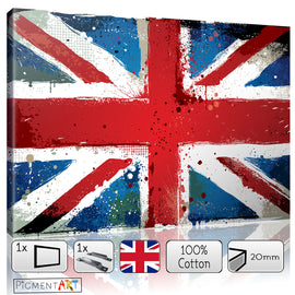 Union Jack Flag Painting - FLG0007 - canvas wall art prints uk