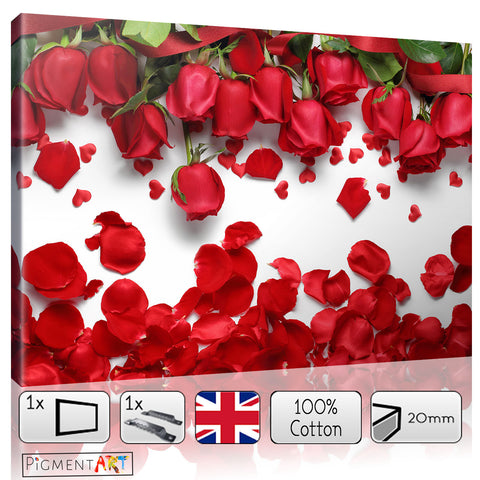 Roses Hearts and Petals - LOV0034 - canvas wall art prints uk