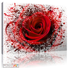 Red Rose Flower Abstract Modern Canvas - canvas wall art prints uk
