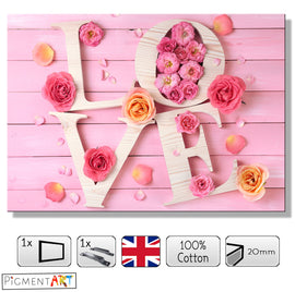Pink Roses Flowers Word Love Canvas - canvas wall art prints uk