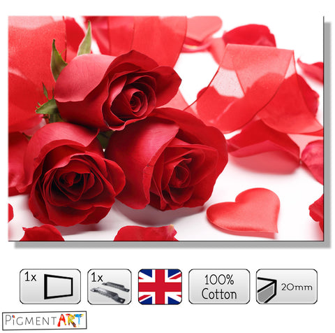 Three Roses Hearts and Petals - LOV0036 - canvas wall art prints uk