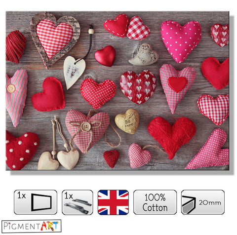Collection of Hearts - LOV0038 - canvas wall art prints uk