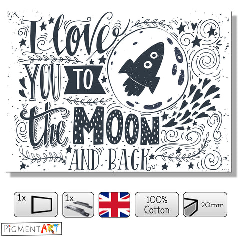 Love to the Moon - LOV0028 - canvas wall art prints uk