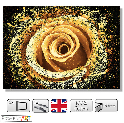 Dew on a Yellow Rose Abstract - FLO0100 - canvas wall art prints uk