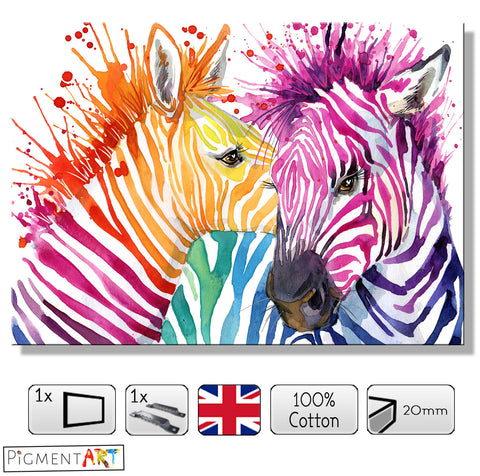 Large Colourful Zebra Animal Abstract Canvas - canvas wall art prints uk