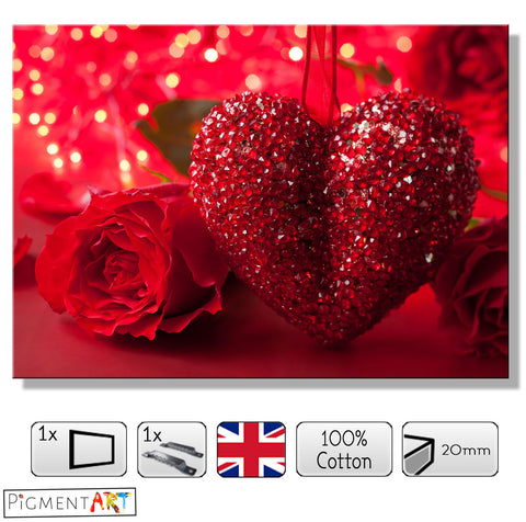 Gem Heart and Roses - LOV0046 - canvas wall art prints uk