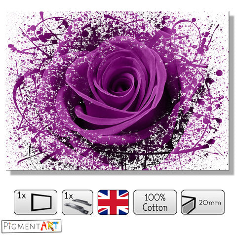 Abstract Purple Rose - FLO0088 - canvas wall art prints uk