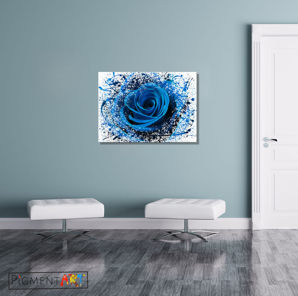 Blue Rose Flower Abstract Modern Canvas - canvas wall art prints uk