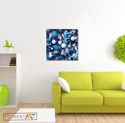 3D Blue Black White Abstract Modern Canvas - canvas wall art prints uk