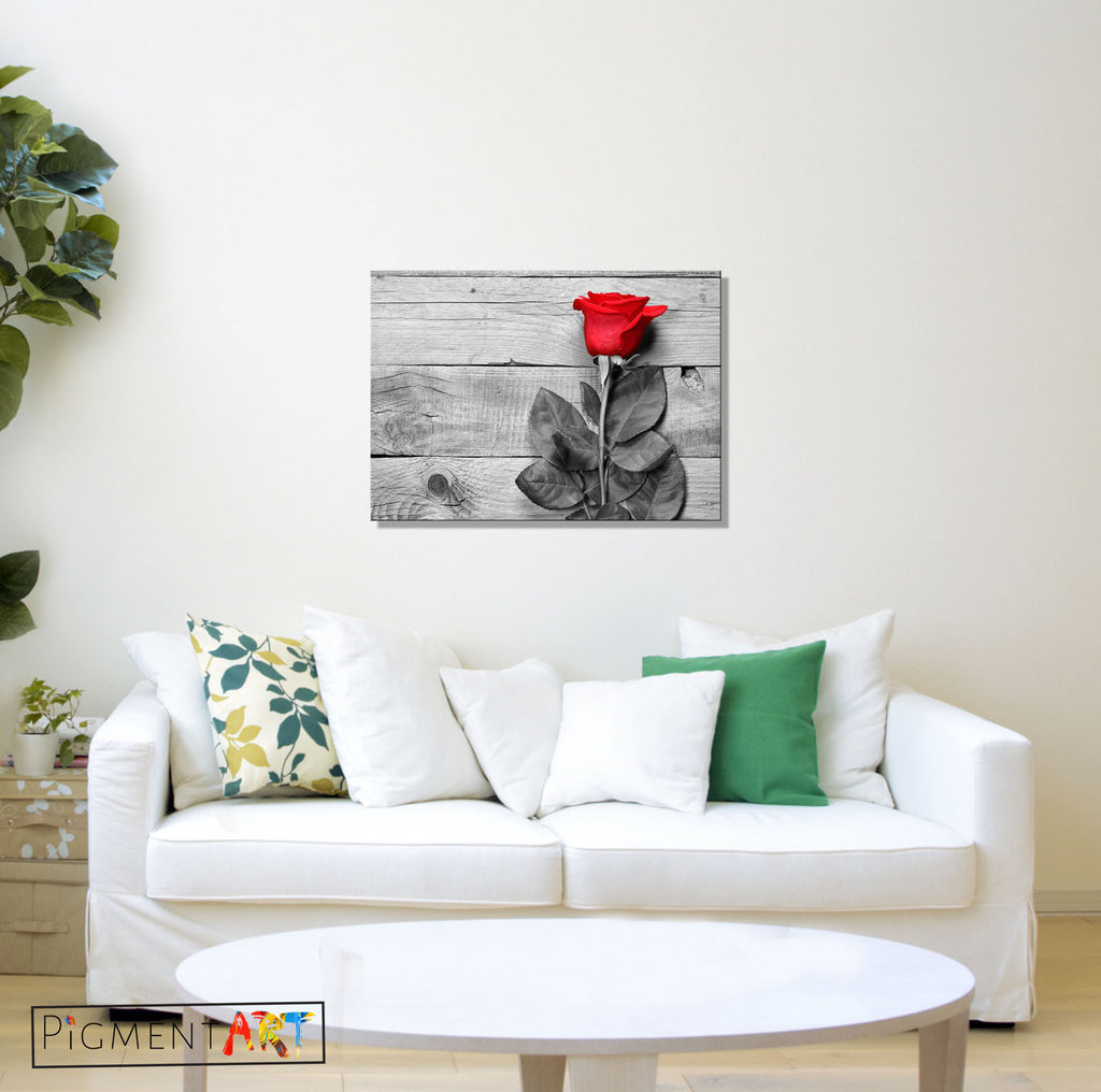 Red Rose On Black White Wood Background Canvas - canvas wall art prints uk