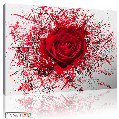 Abstract Red Rose - FLO0068a - canvas wall art prints uk
