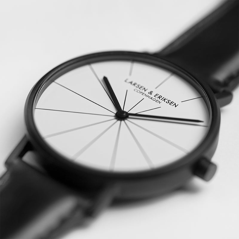 LARSEN&ERIKSEN Absalon black and white watch with black leather strap