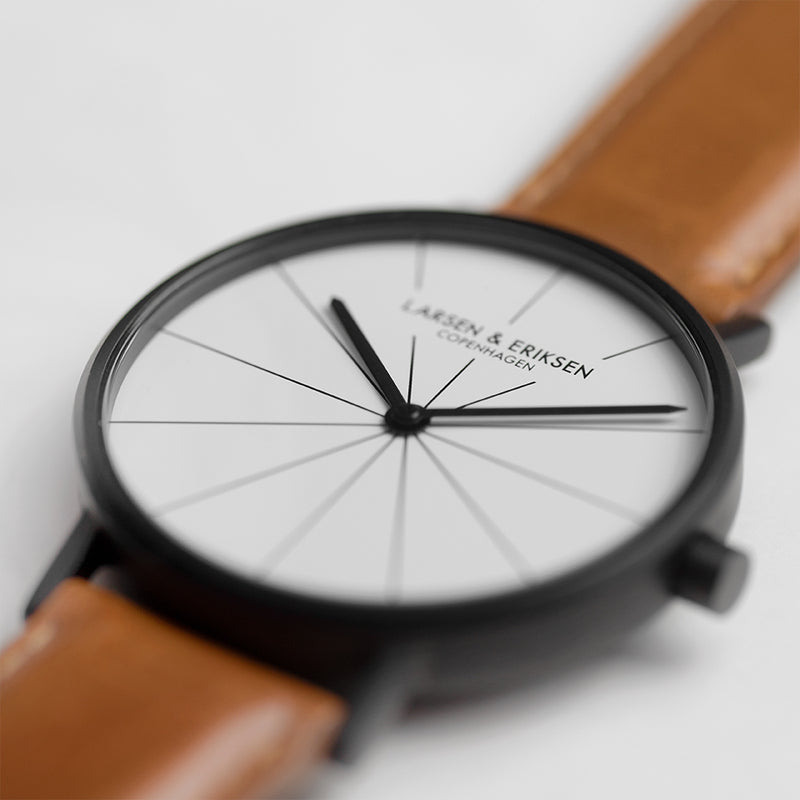 LARSEN&ERIKSEN Absalon black and white watch with brown leather strap