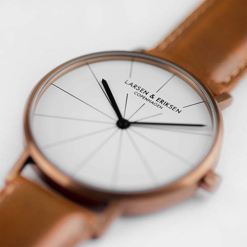 LARSEN&ERIKSEN Absalon copper and white watch with brown leather strap