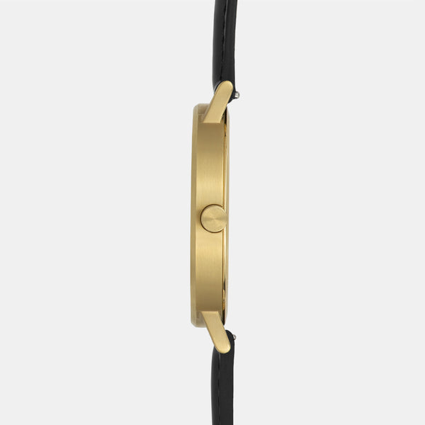 LARSEN&ERIKSEN Absalon gold and white watch with black leather strap