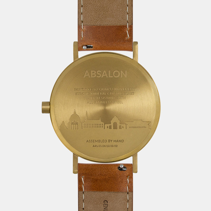 LARSEN&ERIKSEN Absalon gold and white watch with brown leather strap