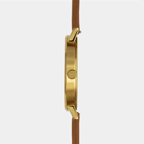 LARSEN&ERIKSEN Absalon all gold watch with brown leather strap