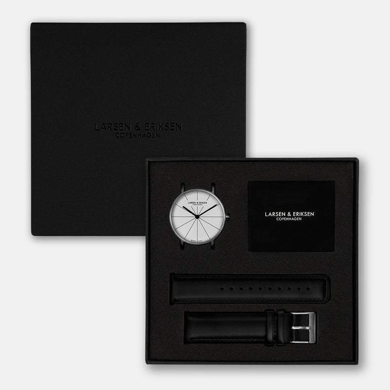 LARSEN&ERIKSEN Absalon silver and white watch with black leather strap