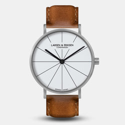 LARSEN&ERIKSEN Absalon silver and white watch with brown leather strap