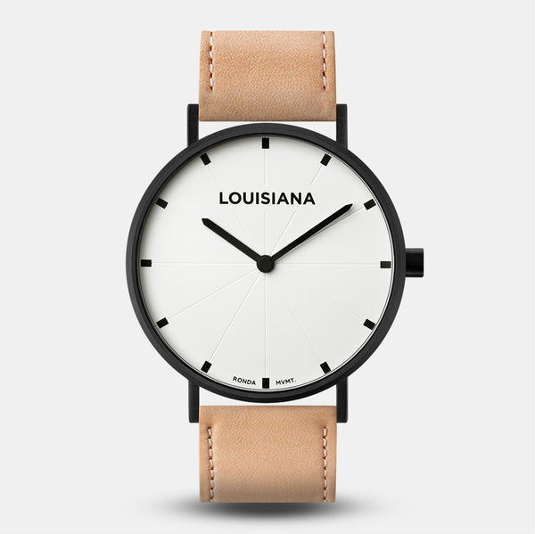 LARSEN&ERIKSEN Louisiana black and white watch with natural tan leather strap