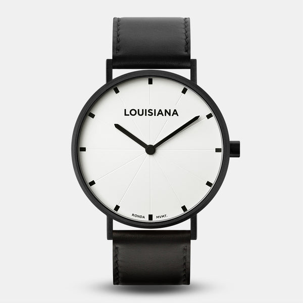 LARSEN&ERIKSEN Louisiana black and white watch with black leather strap