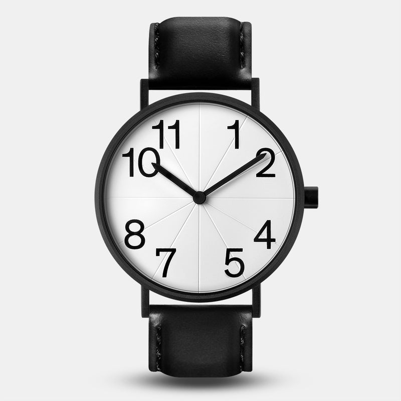 LARSEN&ERIKSEN Numbers black and white watch with black leather strap