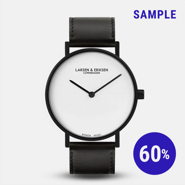 LARSEN&ERIKSEN Sans black and white watch with black leather strap