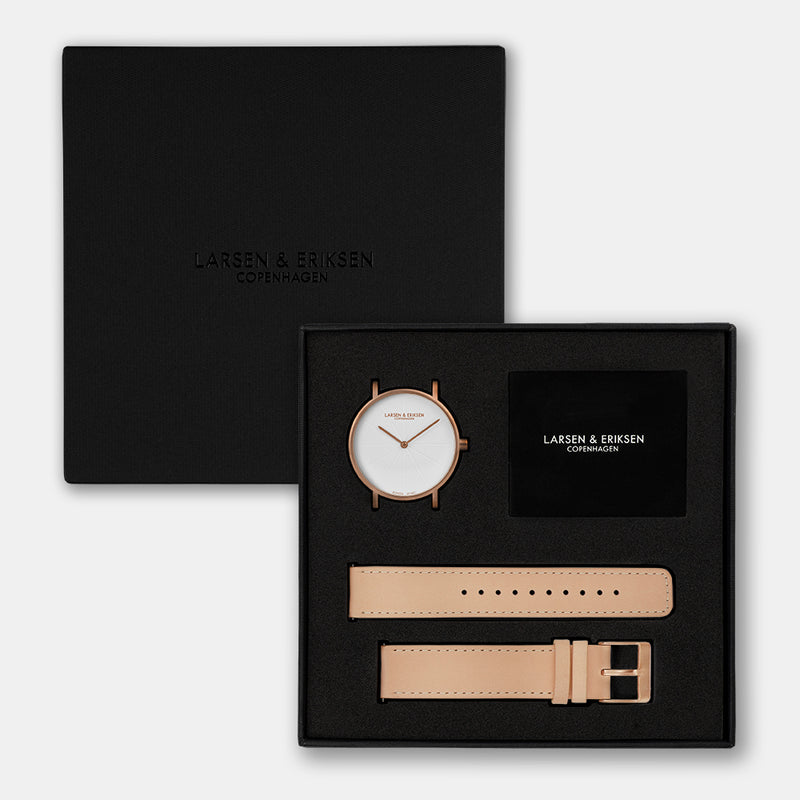 LARSEN&ERIKSEN Sans rosegold and white watch with natural tan leather strap