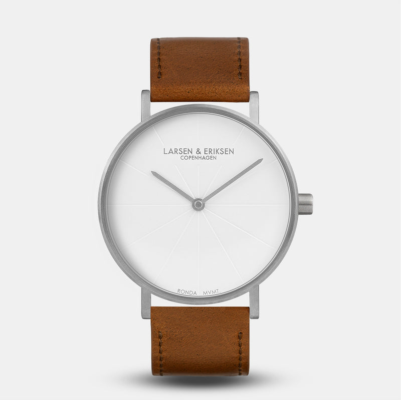 LARSEN&ERIKSEN Sans silver and white watch with brown leather strap