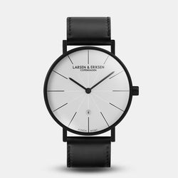 LARSEN&ERIKSEN Værk black and white watch with black leather strap