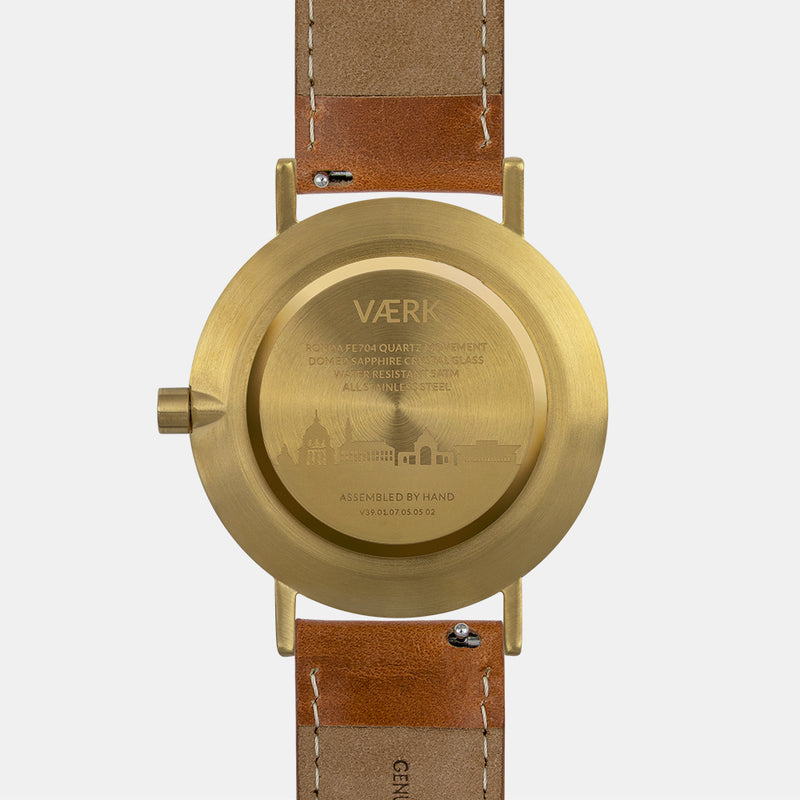 LARSEN&ERIKSEN Værk gold and black watch with brown leather strap