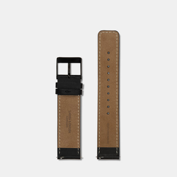 LARSEN&ERIKSEN flat black leather strap with black buckle