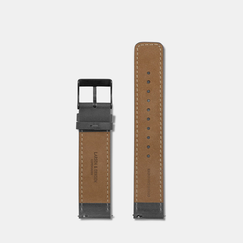 LARSEN&ERIKSEN flat grey leather strap with grey buckle