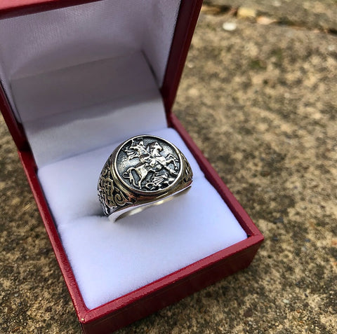 Silver George Ring