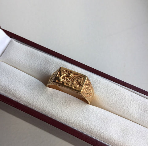 22ct Dragon Signet Ring