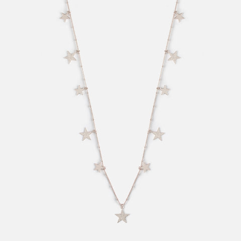 FALLING STAR LONG DROP NECKLACE - SILVER
