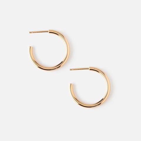 CHUNKY MID SIZE HOOP EARRINGS - GOLD