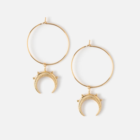TEXTURED BEADED CRESCENT CHARM HOOPS
