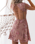 SASKIA DRESS - EMBROIDERY ROSE