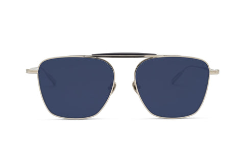 BENJAMIN - Palladium - Polarized Lens Aerospace Titanium Frame with Solid Navy Grey Lens