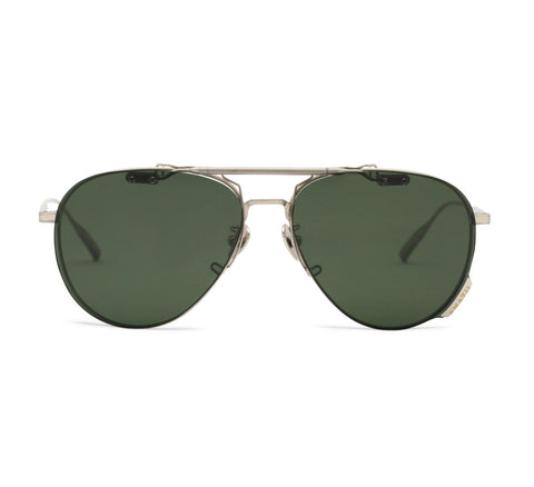 CAPELLA - Brushed Silver Ultralight Aerospace Titanium Frame in Polarized Green Lens
