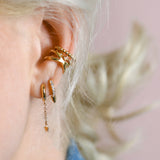 SPIKE & CRYSTAL HUGGIE HOOP EARRINGS
