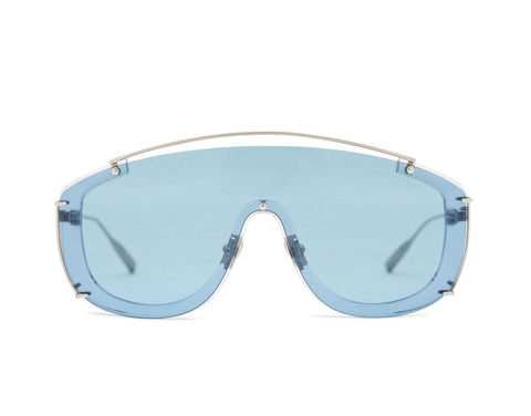 JANE FRANCES - Brushed Silver Aerospace Titanium Frame in Tinted Ocean Blue Lens