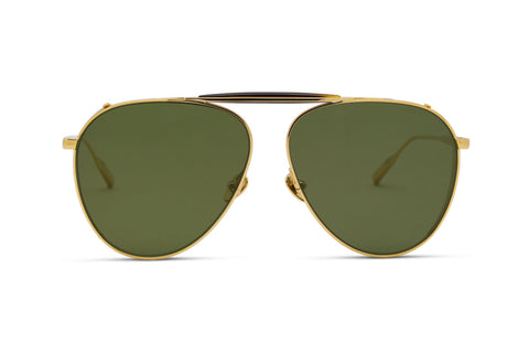 PHILIP - 18K Gold - Polarized Lens Aerospace Titanium Frame with Solid Green Lens