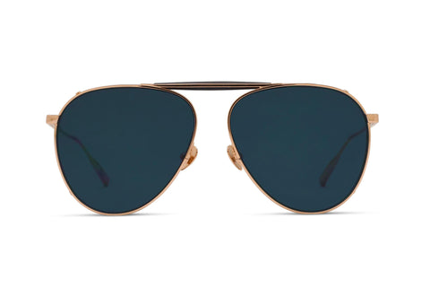PHILIP - Rose Gold Aerospace Titanium Frame with Solid Navy Lens