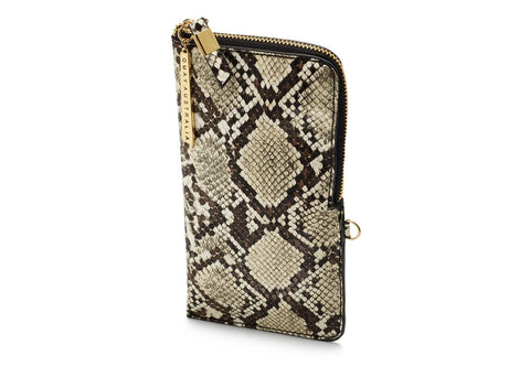 FAUX SKIN ZIP CASE - White / Gold