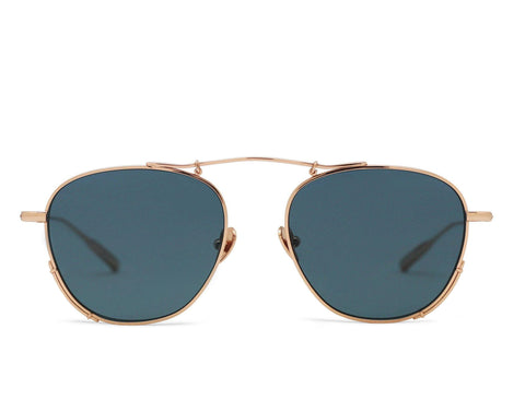 RIGEL - Rose Gold Aerospace Titanium Frame in Solid Blue Lens