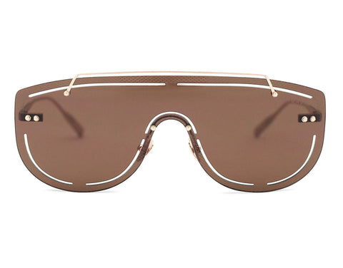 SIRIUS - Brushed Rose Gold Aerospace Titanium Frame in Solid Brown Lens