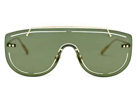 SIRIUS - Brushed 18K Gold Aerospace Titanium Frame in Solid Green Lens